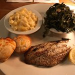 Grilled catfish, macaroni and cheese, southern collards, biscuits and banana pudding