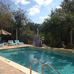 Outdoor pool, comfortable chairs and perfect water temperature!