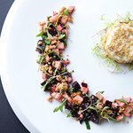 Baked Vulscombe Goats Cheese, roast beetroot and apple salad, oats and honey (v)