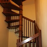 spiral staircase to family room