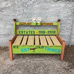 Bench in front of shop