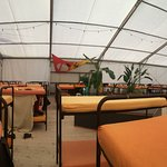 Inside one of the Tents