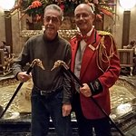 Posing with Jimmy, The Duckmaster, and my new duck-head cane.