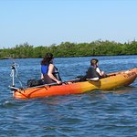 Navigating the Indian River on a motorized kayak.