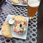 Starter - pita bread, tzatziki, Greek salad.