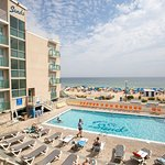 Our saltwater pool overlooks the beach!