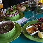 Shrimp skewer, black beans & cubana slaw