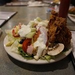 Salad and Fried Chicken from the all-you-can-eat salad bar
