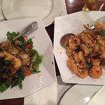 sea bass & garlic shrimp