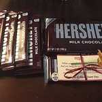 4 chocolate bars from check-in, one from breakfast, 1 giant bar from manager