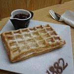 Waffle with raspberry jam