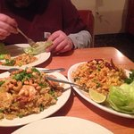 Never had Thai food  waitress suggested Nam Khao  shrimp pineapple fried rice super good we also