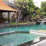 Adi Dharma Cottages pool, no pool bar, so much quieter, short 5 minute stroll away