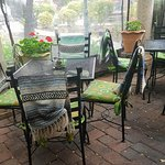 Outside patio area with blankets in case its chilly