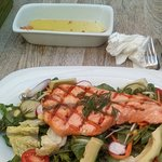 Amazing Grilled Salmon Salad I had for Lunch my first day here. YUUUMMM!