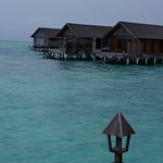 The view from our overwater villa. These are the other villas.