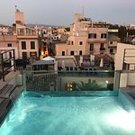 Roof terrace splash pool by night