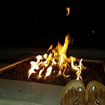 Awesome fire pit and perfect after relaxing in the hot tub