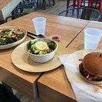kale salad, crispy veggies, burger el guapo