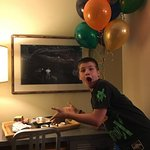 surprise balloons and cupcakes in our room from Dalton