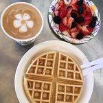 blegian waffle, fresh fruit & latte