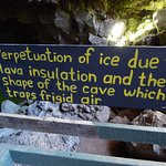 Sign at platform over ice cave
