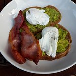 Poached eggs & avocado, with bacon - The Embankment