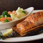 Cedar Plank Salmon and steamed veggies