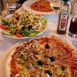 Pizza, Pasta and mixed Salad