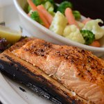 Salmon on a cedar plank with steamed veggies