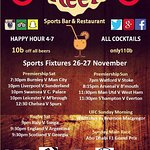 Sports Fixtures List This Weekend