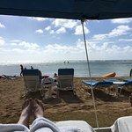 Under a cabana at the beach