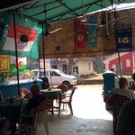 Flags of Football club inside Dinha's Restaurant