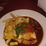 Steak & ale pie there is a choice of potatoes