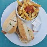 Chicken club sandwich with fries
