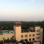 View of Taj Mahal from hotel rooftop