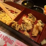 Dry battered cod with dry sticky noodles