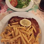 Pork schnitzel, fries and salad