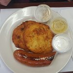 Lunch special: Smoked kielbasa with potato pancakes