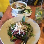 Pho and Thai beef salad. Ask for dressing on the side. Pool of dressing at bottom of bowl :( dre