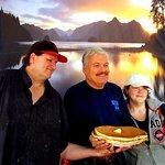 Brandon & Sarah Bryant with me and their mammoth pancakes!