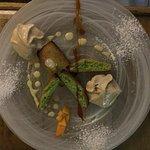 Idée du soir financier pistache,crème anglaise,émulsion spéculos et wasabi
