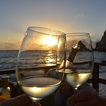 Prosecco at sunset from the beachfront