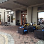 Entrance area with free rental cycles