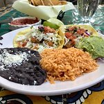 Fish tacos, rice and beans