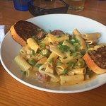 :Pasta with Garlic Bread