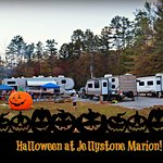 We stayed in A42 which is the gray camper on the left with the pumpkin. The creek is far left.