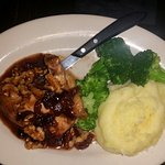 Antibiotic/hormone-free chicken pan seared, roasted, topped w/cranberry, walnut  & maple syrup s