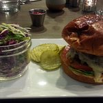 the Fox Burger and a side of coleslaw