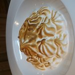Peanut,banana and chocolate.  Pear baked alaska, Venison, roots and shoot with berries